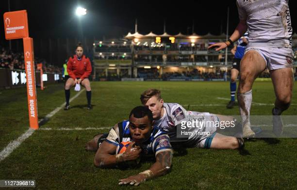 Semesa Rokoduguni of Bath Rugby scores his sides fourth try during the Premiership Rugby Cup match between Bath Rugby and Gloucester Rugby at the...