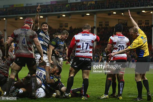 Semesa Rokoduguni of Bath scores his sides third try as Levi Douglas celebrates during the Aviva Premiership match between Gloucester and Bath at...