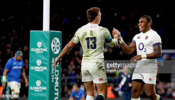 Semesa Rokoduguni of England celebrates scoring his sides seventh try with Henry Slade of England during the Old Mutual Wealth Series match between...