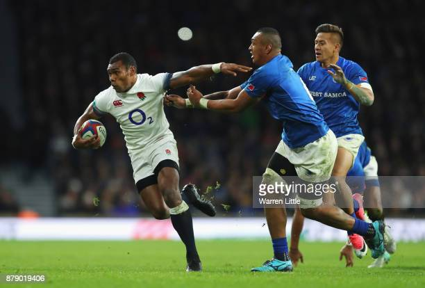 Semesa Rokoduguni of England on the charge during the Old Mutual Wealth Series match between England and Samoa at Twickenham Stadium on November 25...
