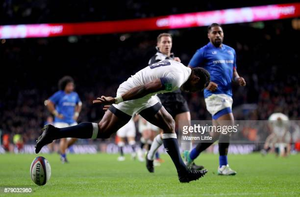 Semesa Rokoduguni of England touches down for the seventh try during the Old Mutual Wealth Series match between England and Samoa at Twickenham...