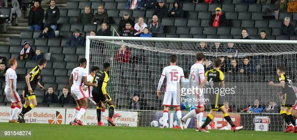 Semi Ajayi of Rotherham United scores his sides first goal during the Sky Bet League One match between Milton Keynes Dons and Rotherham United at...