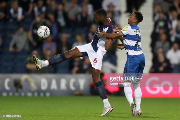Semi Ajayi of West Bromwich Albion and Chris Willock of Queens Park Rangers in action during the Sky Bet Championship match between West Bromwich...