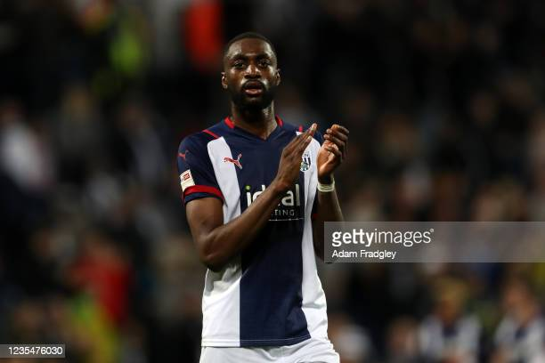 Semi Ajayi of West Bromwich Albion applauds the West Bromwich Albion Fans at the end of the match as he celebrates the 2-1 win in the Sky Bet...