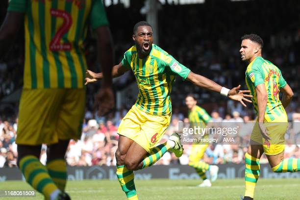 Semi Ajayi of West Bromwich Albion celebrates after scoring a goal to make it 11 during the Sky Bet Championship match between Fulham and West...