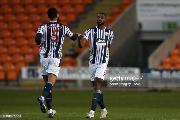 Semi Ajayi of West Bromwich Albion celebrates after scoring a goal to make it 1-1 during the FA Cup Third Round match between Blackpool and West...