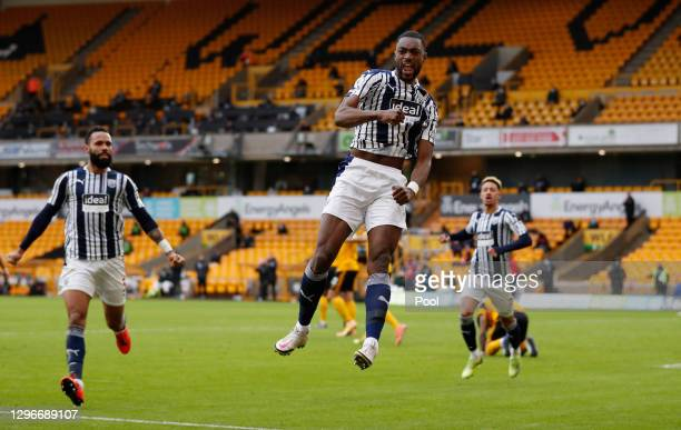 Semi Ajayi of West Bromwich Albion celebrates after scoring his team's second goal during the Premier League match between Wolverhampton Wanderers...