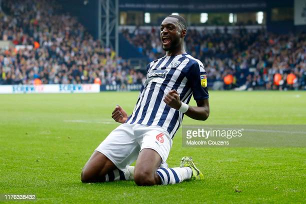 Semi Ajayi of West Bromwich Albion celebrates scoring a goal during the Sky Bet Championship match between West Bromwich Albion and Huddersfield Town...