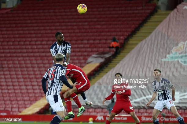 Semi Ajayi of West Bromwich Albion scores a goal to make it 1-1 during the Premier League match between Liverpool and West Bromwich Albion at Anfield...