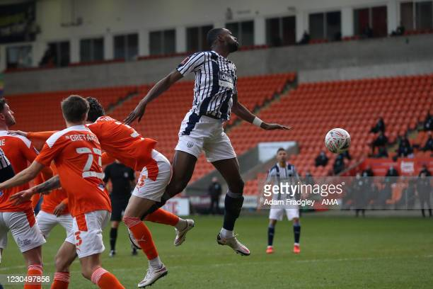 Semi Ajayi of West Bromwich Albion scores a goal to make it 1-1 during the FA Cup Third Round match between Blackpool and West Bromwich Albion on...