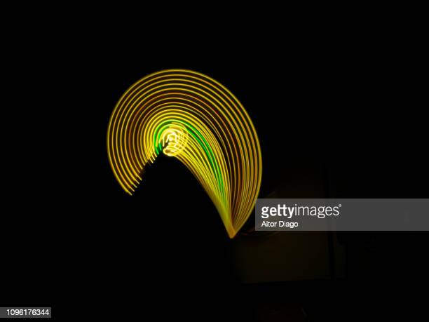 semi circular creation with electronic seed shape. it could fe also a human face. virtual environment. - human face foto e immagini stock