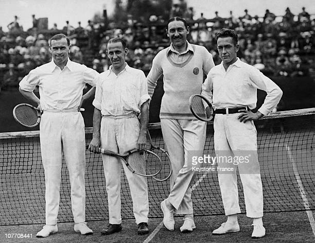 Semi Final AustraliaFrance Davis Cup In 1922 From Left To Right Gerald Patterson Pat O'Hara Wood The Captain Of The Team Of France Gobert And Cochet