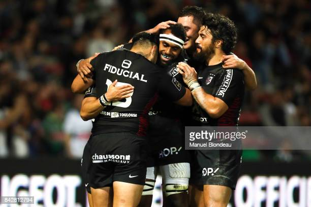 Semi Kunatani of Toulouse celebrate his try during the Top 14 match between Toulouse and Pau on September 2 2017 in Toulouse France