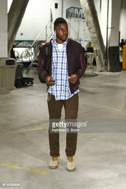 Semi Ojeleye of the Boston Celtics arrives at the arena before the game against the Boston Celtics on November 14 2017 at Barclays Center in Brooklyn...