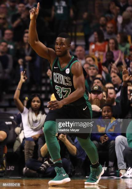 Semi Ojeleye of the Boston Celtics celebrates after scoring against the Phoenix Suns during the second half at TD Garden on December 2 2017 in Boston...