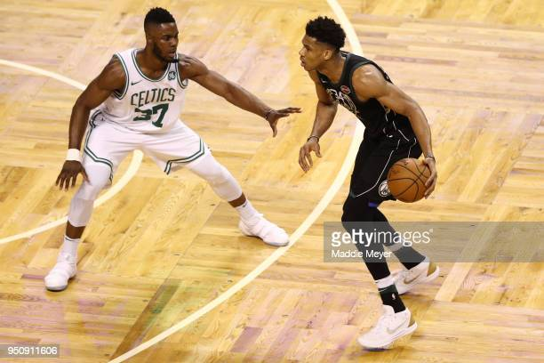 Semi Ojeleye of the Boston Celtics defends Giannis Antetokounmpo of the Milwaukee Bucks during the fourth quarter in Game Five in Round One of the...