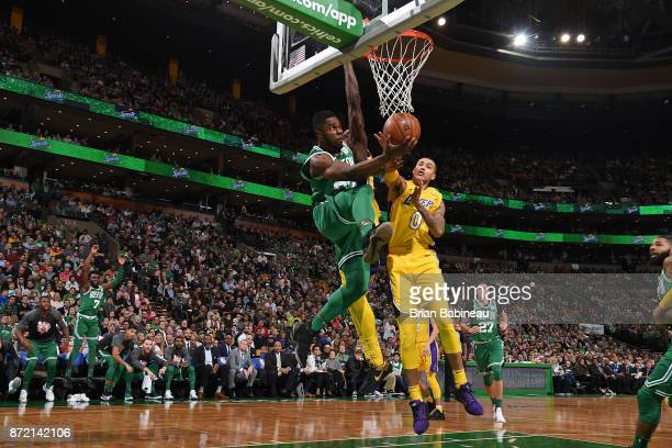Semi Ojeleye of the Boston Celtics drives to the basket against the Los Angeles Lakers on November 8 2017 at the TD Garden in Boston Massachusetts...