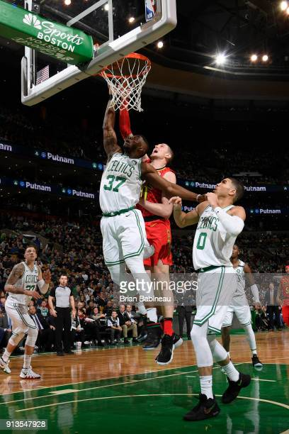 Semi Ojeleye of the Boston Celtics drives to the basket during the game against the Atlanta Hawks on February 2 2018 at the TD Garden in Boston...