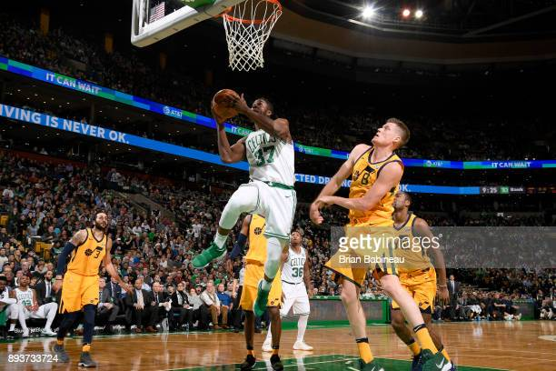 Semi Ojeleye of the Boston Celtics goes for a lay up against the Utah Jazz on December 15 2017 at the TD Garden in Boston Massachusetts NOTE TO USER...