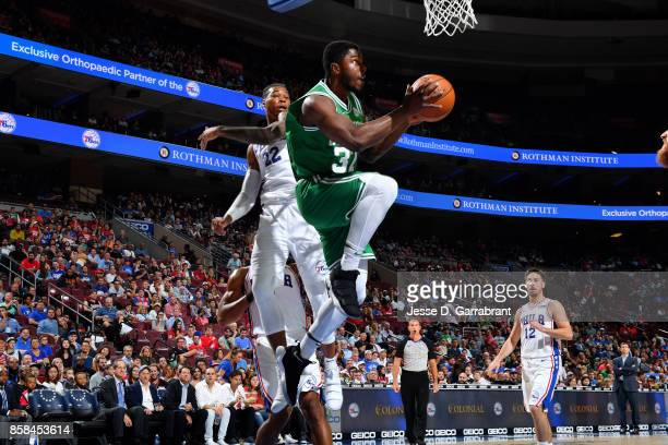 Semi Ojeleye of the Boston Celtics goes for a lay up during the game against the Philadelphia 76ers during a preseason on October 6 2017 at Wells...