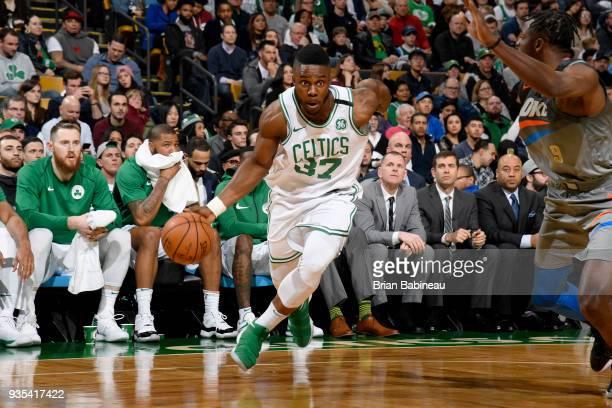 Semi Ojeleye of the Boston Celtics handles the ball against the Oklahoma City Thunder on March 20 2018 at the TD Garden in Boston Massachusetts NOTE...