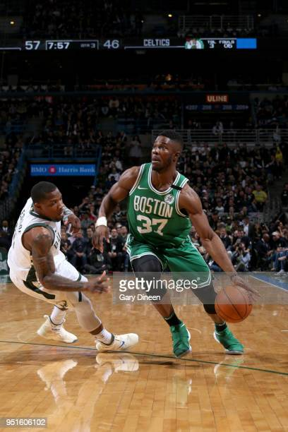 Semi Ojeleye of the Boston Celtics handles the ball against the Milwaukee Bucks in Game Six of the Round One of the 2018 NBA Playoffs on April 26...