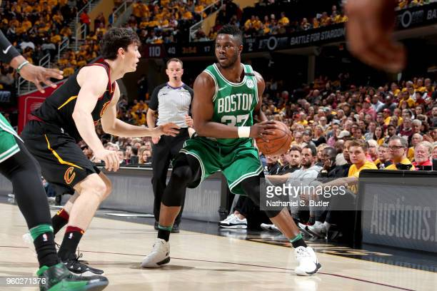 Semi Ojeleye of the Boston Celtics handles the ball against the Cleveland Cavaliers in Game Three of the Eastern Conference Finals of the 2018 NBA...
