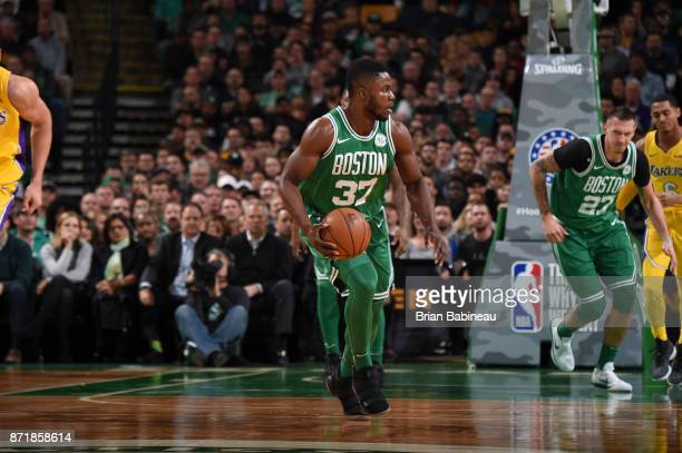 Semi Ojeleye of the Boston Celtics handles the ball against the Los Angeles Lakers on November 8 2017 at the TD Garden in Boston Massachusetts NOTE...