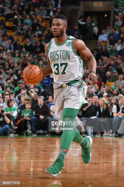 Semi Ojeleye of the Boston Celtics handles the ball against the Brooklyn Nets on April 11 2018 at the TD Garden in Boston Massachusetts NOTE TO USER...