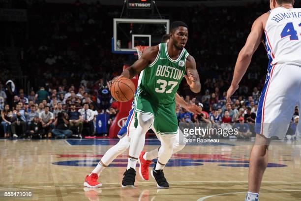 Semi Ojeleye of the Boston Celtics handles the ball against the Philadelphia 76ers on October 6 2017 in Philadelphia Pennsylvania at the Wells Fargo...