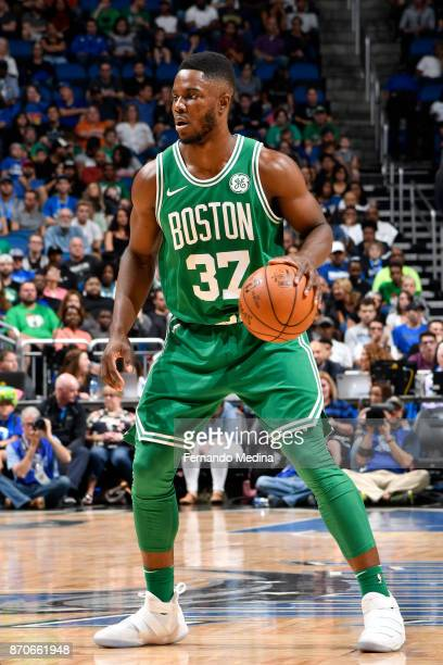 Semi Ojeleye of the Boston Celtics handles the ball against the Orlando Magic on November 5 2017 at Amway Center in Orlando Florida NOTE TO USER User...