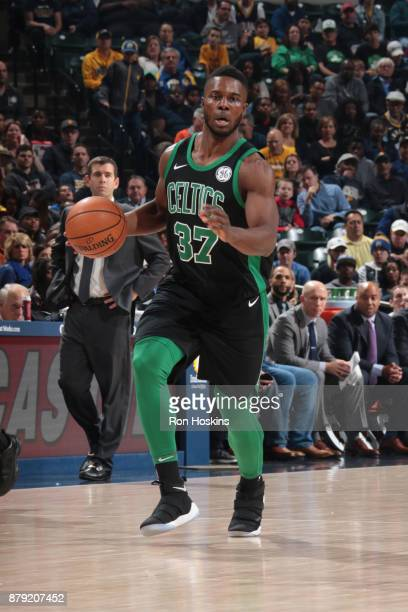 Semi Ojeleye of the Boston Celtics handles the ball against the Indiana Pacers on November 25 2017 at Bankers Life Fieldhouse in Indianapolis Indiana...