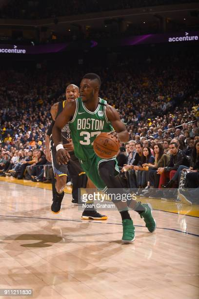 Semi Ojeleye of the Boston Celtics handles the ball against the Golden State Warriors on January 27 2018 at ORACLE Arena in Oakland California NOTE...