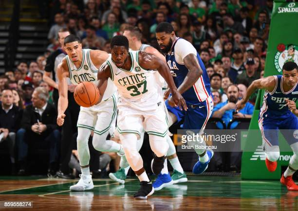 Semi Ojeleye of the Boston Celtics handles the ball against the Philadelphia 76ers during the preseason game on October 9 2017 at the TD Garden in...