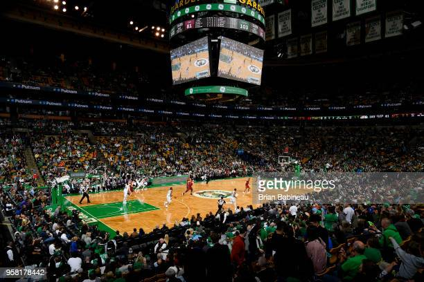 Semi Ojeleye of the Boston Celtics handles the ball against the Cleveland Cavaliers during Game One of the Eastern Conference Finals of the 2018 NBA...