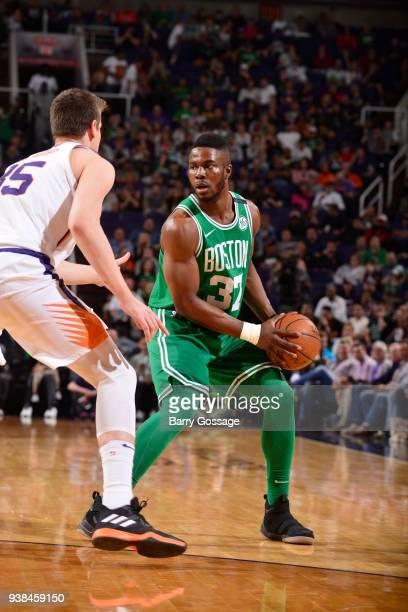 Semi Ojeleye of the Boston Celtics handles the ball against the Phoenix Suns on March 26 2018 at Talking Stick Resort Arena in Phoenix Arizona NOTE...