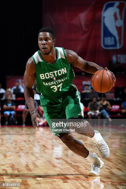 Semi Ojeleye of the Boston Celtics handles the ball during the game against the Dallas Mavericks during the Quarterfinals of the 2017 Las Vegas...