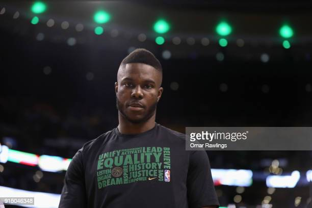 Semi Ojeleye of the Boston Celtics looks on before the game against the Portland Trail Blazers at TD Garden on February 4 2018 in Boston...