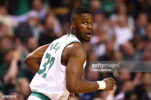 Semi Ojeleye of the Boston Celtics looks on during a game against theChicago Bulls at TD Garden on April 6 2018 in Boston Massachusetts NOTE TO USER...