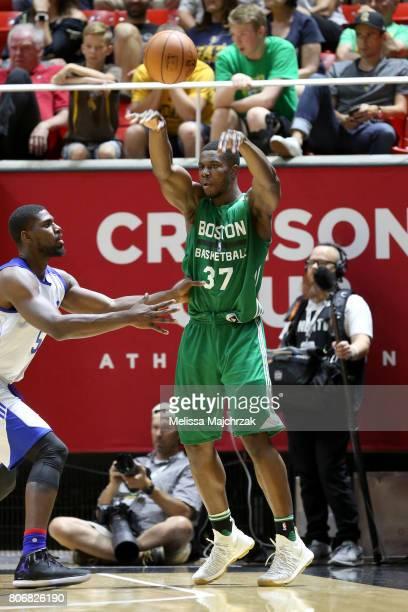 Semi Ojeleye of the Boston Celtics passes the ball against the Philadelphia 76ers on July 3 2017 at Jon M Huntsman Center in Salt Lake City Utah NOTE...