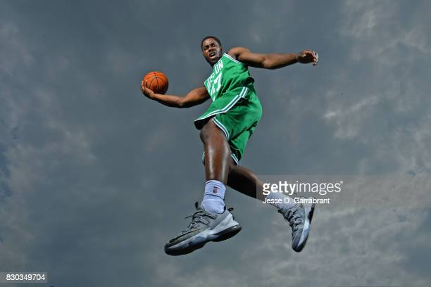Semi Ojeleye of the Boston Celtics poses for a portrait during the 2017 NBA rookie photo shoot on August 11 2017 at the Madison Square Garden...
