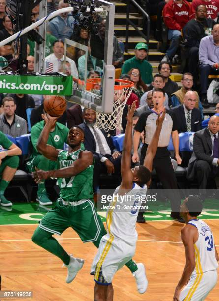 Semi Ojeleye of the Boston Celtics puts up the shot during the game against the Golden State Warriors on November 16 2017 at the TD Garden in Boston...