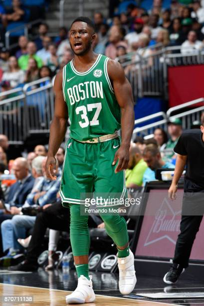 Semi Ojeleye of the Boston Celtics reacts against the Orlando Magic on November 5 2017 at Amway Center in Orlando Florida NOTE TO USER User expressly...