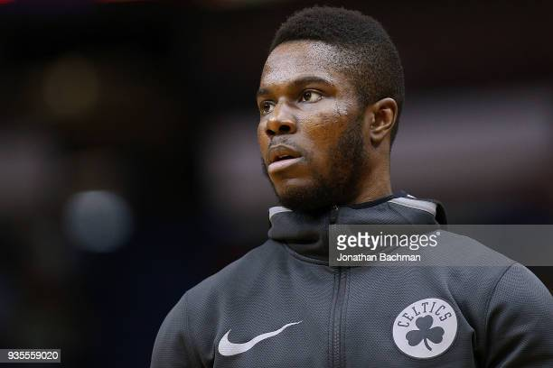 Semi Ojeleye of the Boston Celtics reacts during a game against the New Orleans Pelicans at the Smoothie King Center on March 18 2018 in New Orleans...
