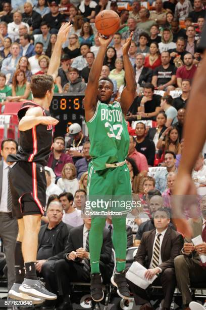 Semi Ojeleye of the Boston Celtics shoots a 3pointer against the Miami Heat on November 22 2017 at American Airlines Arena in Miami Florida NOTE TO...