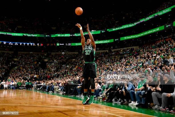 Semi Ojeleye of the Boston Celtics shoots the ball against the Orlando Magic on January 21 2018 at the TD Garden in Boston Massachusetts NOTE TO USER...