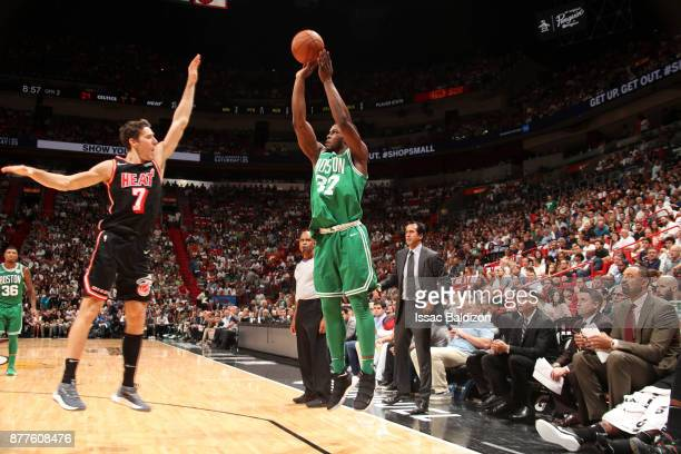 Semi Ojeleye of the Boston Celtics shoots the ball against the Miami Heat on November 22 2017 at AmericanAirlines Arena in Miami Florida NOTE TO USER...
