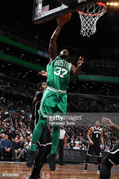 Semi Ojeleye of the Boston Celtics shoots the ball against the Brooklyn Nets on November 14 2017 at Barclays Center in Brooklyn New York NOTE TO USER...