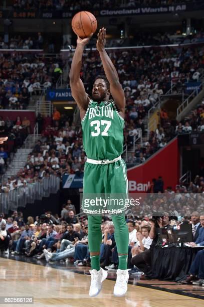 Semi Ojeleye of the Boston Celtics shoots the ball against the Cleveland Cavaliers on October 17 2017 at Quicken Loans Arena in Cleveland Ohio NOTE...