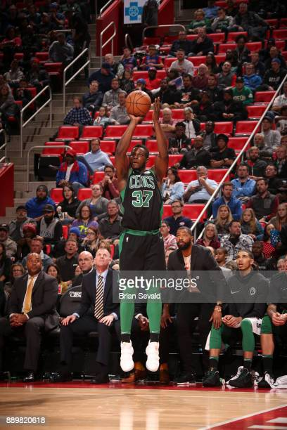 Semi Ojeleye of the Boston Celtics shoots the ball against the Detroit Pistons on December 10 2017 at Little Caesars Arena in Detroit Michigan NOTE...